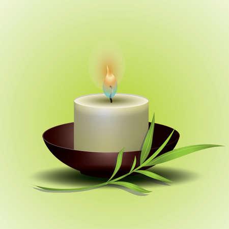 lit spa candle Illustration
