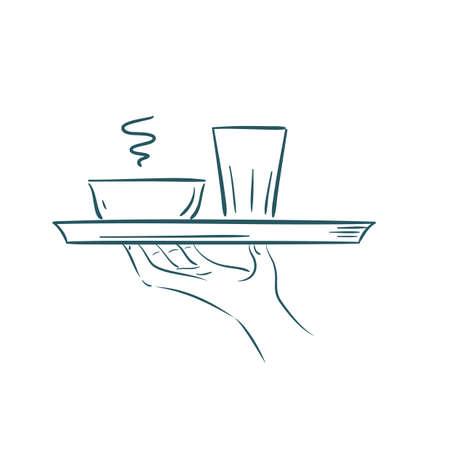 Hand hält ein Tablett Standard-Bild - 81486266