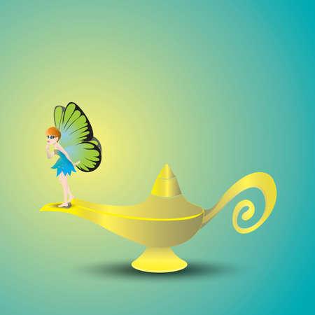 魔神のランプの図。  イラスト・ベクター素材