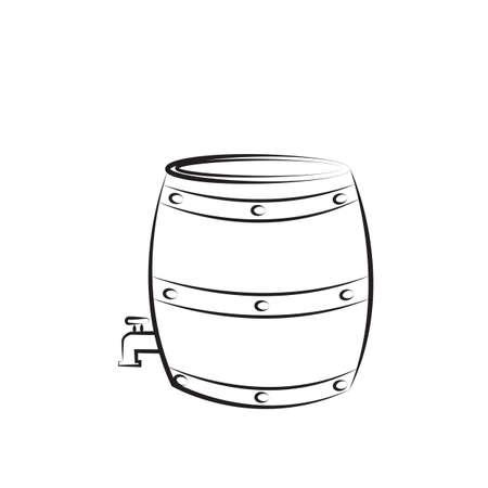 A wine barrel illustration. Illustration