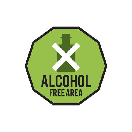 alcohol free area sign Ilustrace