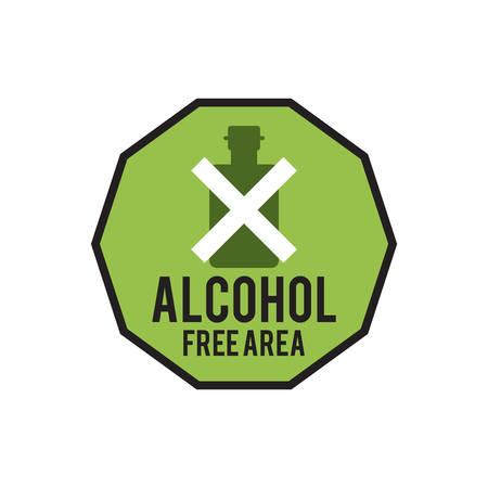 alcohol free area sign Illustration