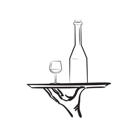 와인 한 접시와 함께 손 일러스트