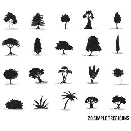 Ensemble d'icônes d'arbres Banque d'images - 81535945