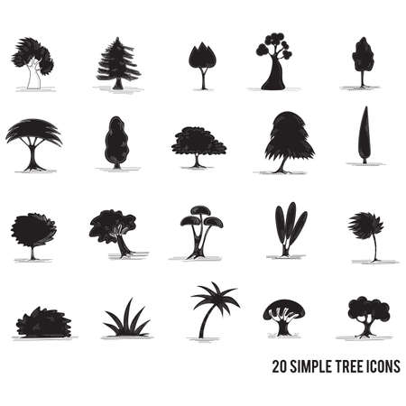Set of trees icon Illustration