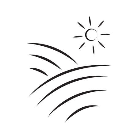 丘図昇る太陽。  イラスト・ベクター素材