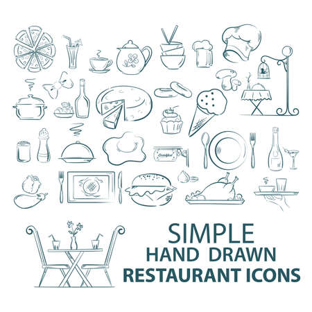 chutney: A set of restaurant icons illustration.
