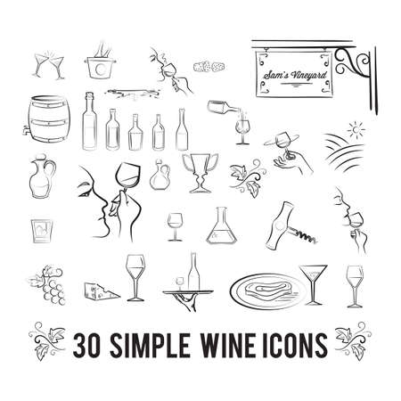 A set of wine icons illustration. Illustration
