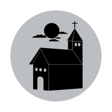 church and a moon