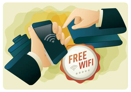 hands connecting a phone to free wifi Stock Vector - 81538662