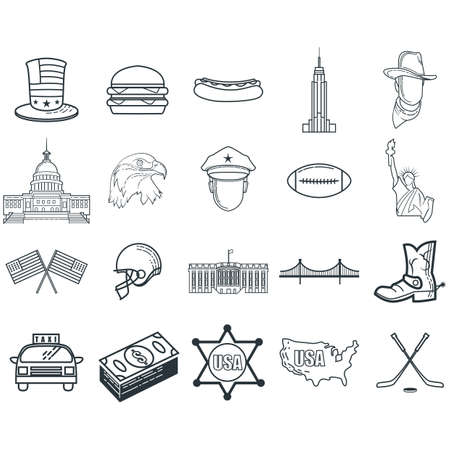 set of american themed icons Illustration
