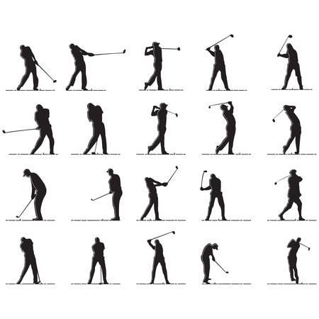 set of silhouettes of man playing golf