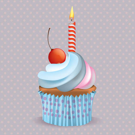 Cupcake mit Kerze Standard-Bild - 81537923