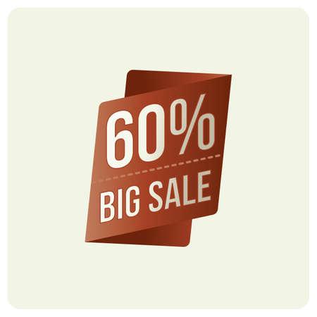 60 percent big sale badge Иллюстрация