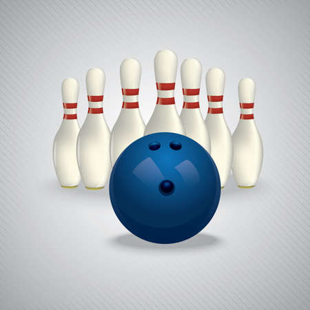 Bowlingbal en pinnen Stock Illustratie