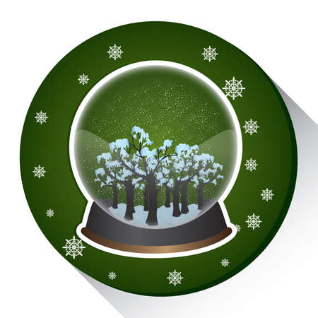 snow globe with christmas tree Illustration