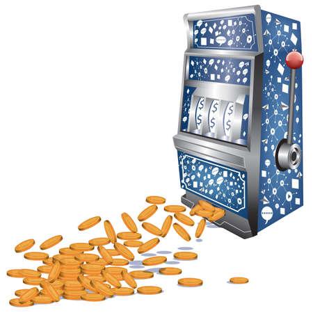 비즈니스 개념에서 동전과 슬롯 머신