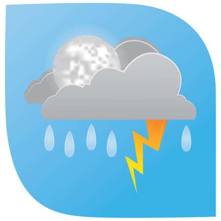 regenval met bliksemwolken en maan