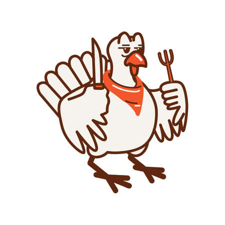 turkey holding fork and knife
