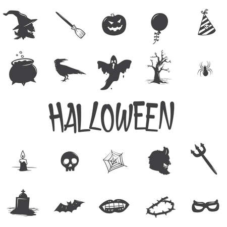 set of halloween icons 矢量图像