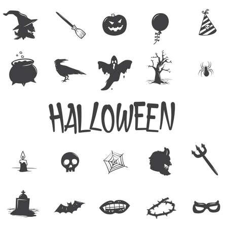 set van halloween iconen