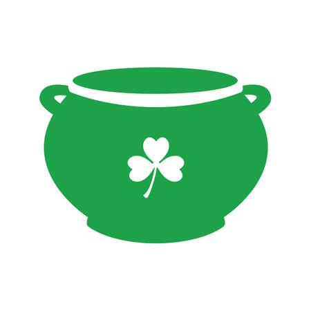 pot with clover leaf Illustration