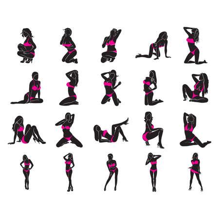 colección de mujeres en bikini Ilustración de vector