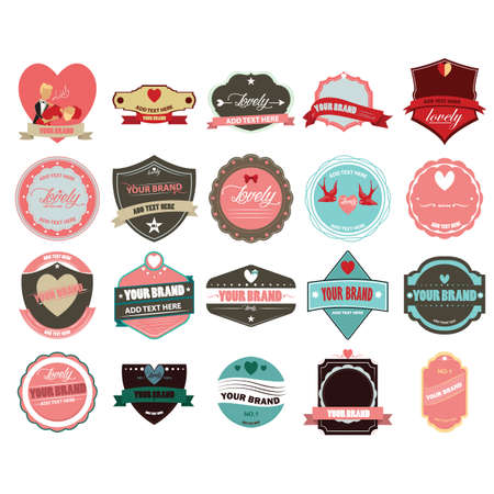 love labels and banners collection 일러스트