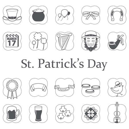 set of saint patricks day icons