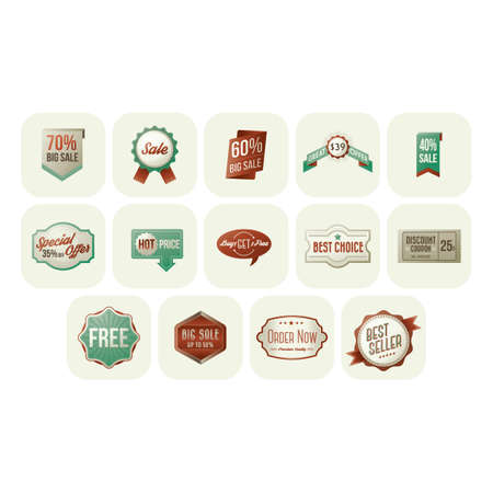 sales and offer badges Ilustrace