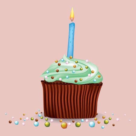 Petit gâteau avec bougie Banque d'images - 81537953