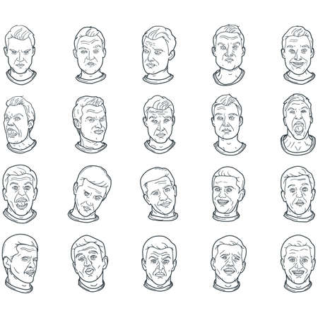 set of man with facial expressions