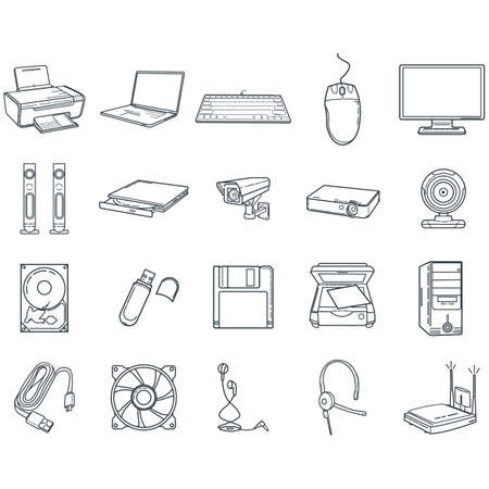 collection of computer devices  イラスト・ベクター素材
