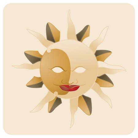 sun carnival mask Ilustracja