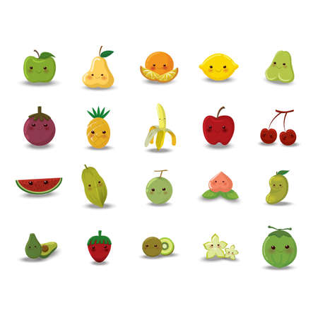 Set of fruit and vegetable icons Çizim