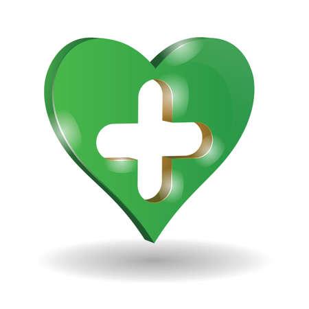 heart with plus sign Illusztráció