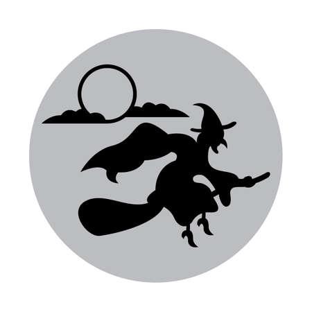 ほうきで飛ぶ魔女  イラスト・ベクター素材