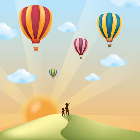 landscape with hot air balloons 일러스트