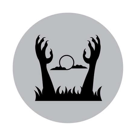 ゾンビの手が地面から出て立ち  イラスト・ベクター素材