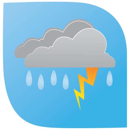 bliksem en regenende wolken Stock Illustratie