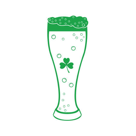 beer glass with clover leaf Ilustracja
