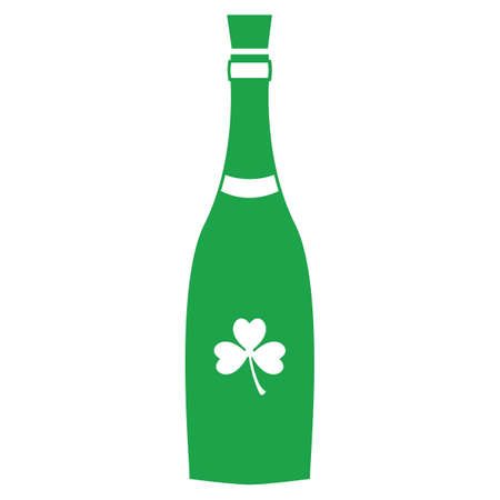 champagne bottle with clover leaf Ilustracja