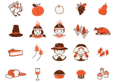 set of thanksgiving icons Stock Illustratie