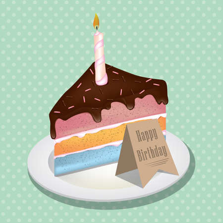 Piece of birthday cake with candle