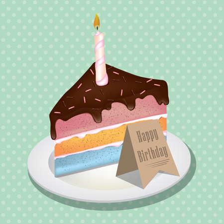 Stuk verjaardagstaart met kaars