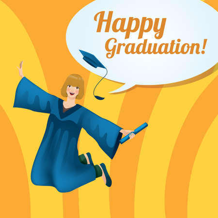 Happy graduation greeting design