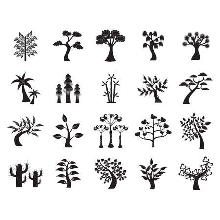 A set of tree icons illustration. Фото со стока - 81486325