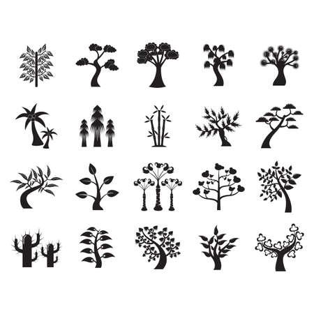 Un ensemble d'illustration d'icônes d'arbre. Banque d'images - 81486325
