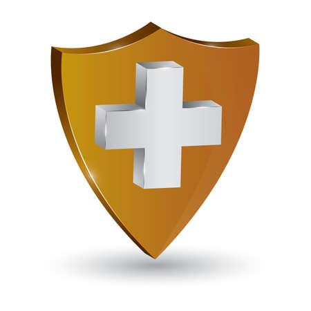 Escudo con signo de cruz Ilustración de vector
