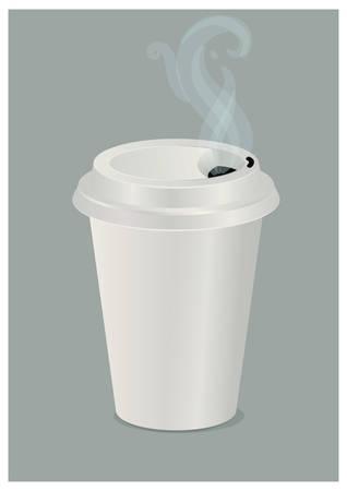 종이컵에 뜨거운 커피 일러스트